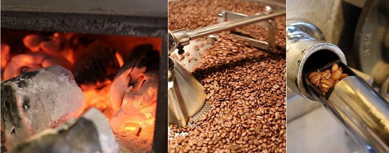 ▲こだわりの炭火焙煎。遠赤外線の効果で風味のある仕上がりに。