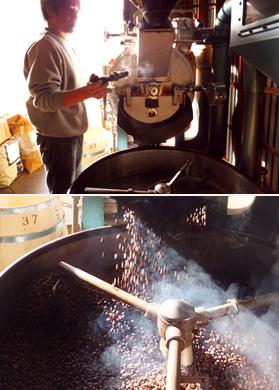 ▲コーヒーは毎朝、本社にある焙煎工場で焙煎される。