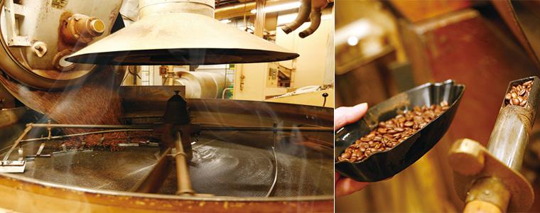 ▲ 横浜にあるキャラバンコーヒーの焙煎工場で、30〜40年使い続けているという焙煎釜。コーヒー豆の油が時間をかけて馴染んでおり、スモーキーな風味を作り出す。